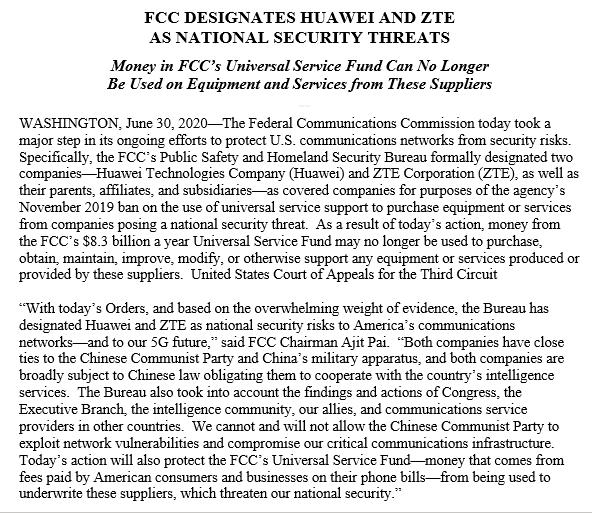 美FCC正式禁电信公司使用联邦资金购买华为中兴设备;中芯国际闪电上市