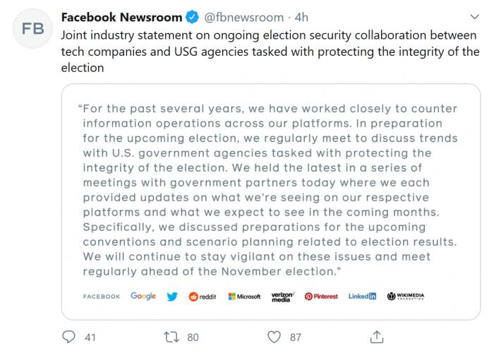Facebook、谷歌、微软等美国科技巨头表示将定期会面为2020美总统大选保驾护航