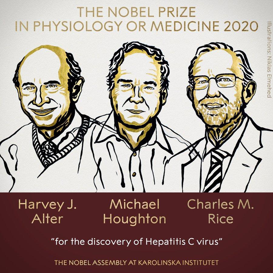 2020诺贝尔生理学或医学奖花落三人,以表彰对丙肝病毒的发现