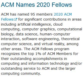 ACM公布2020ACMFellows95人成员名单,华人学者占12席