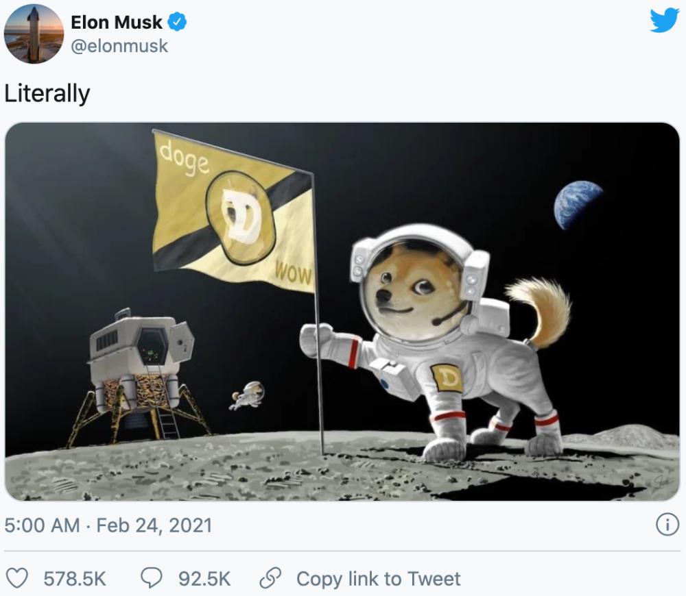 狗狗币上月球?马斯克将用SpaceX把狗币送上月球
